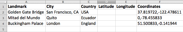 Spreadsheet, now with latitude and longitude columns