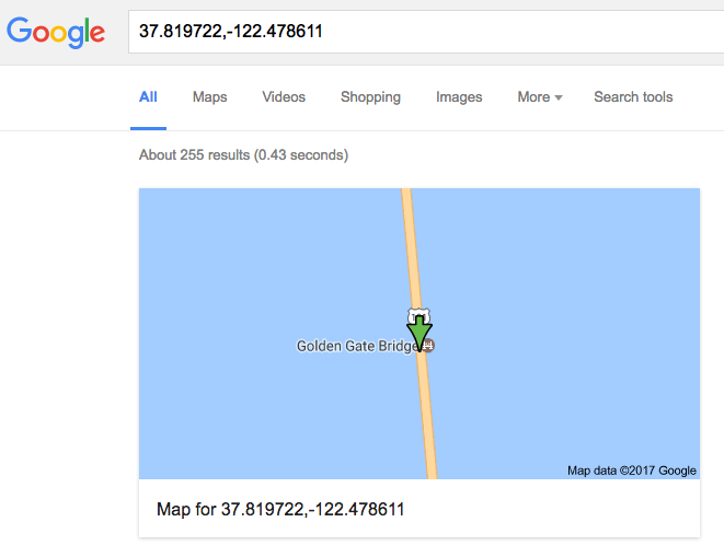Google Maps display of latitude and longitude coordinates